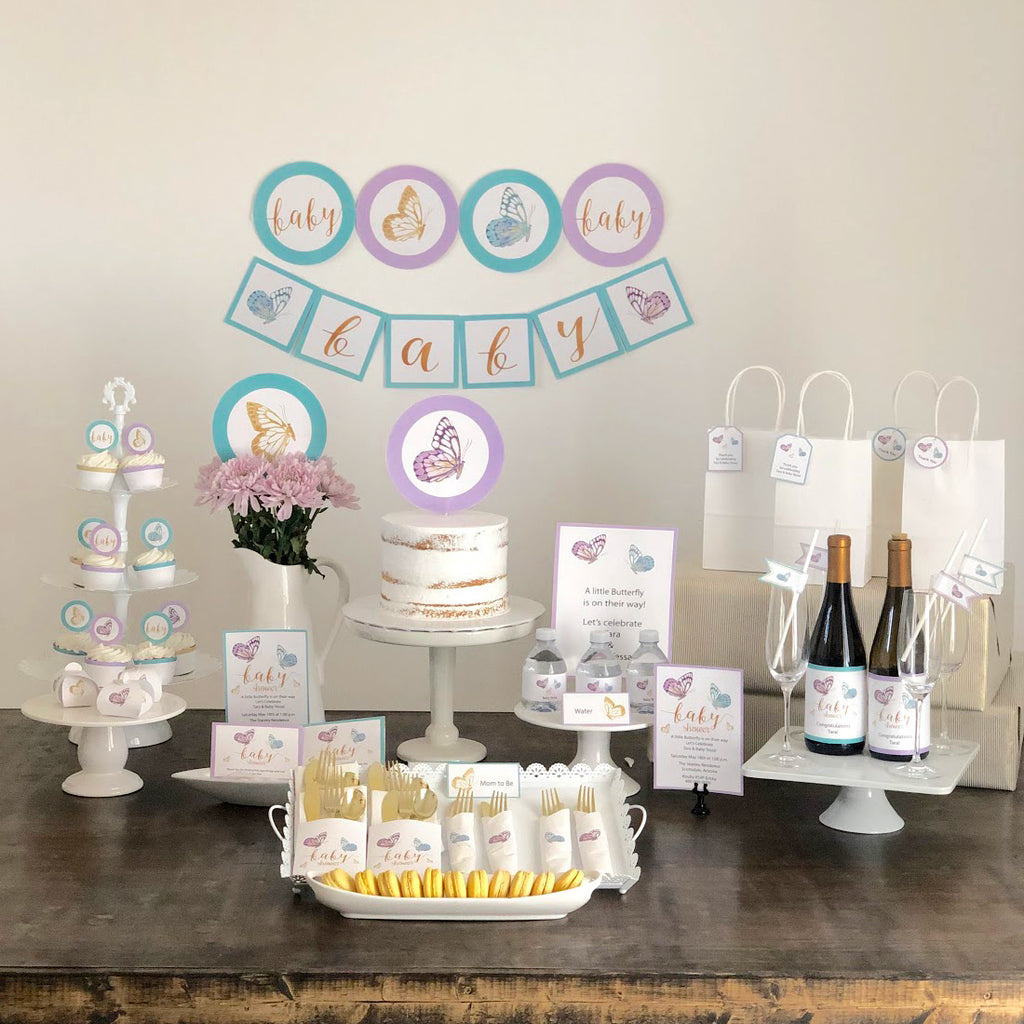 Lavender Butterfly Baby Shower Printable Collection (Digital Download)
