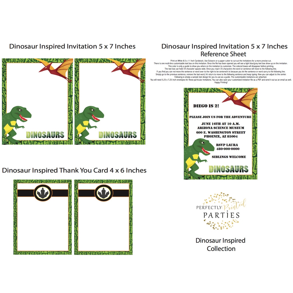 Dinosaur Printable Invitation (Digital Download)