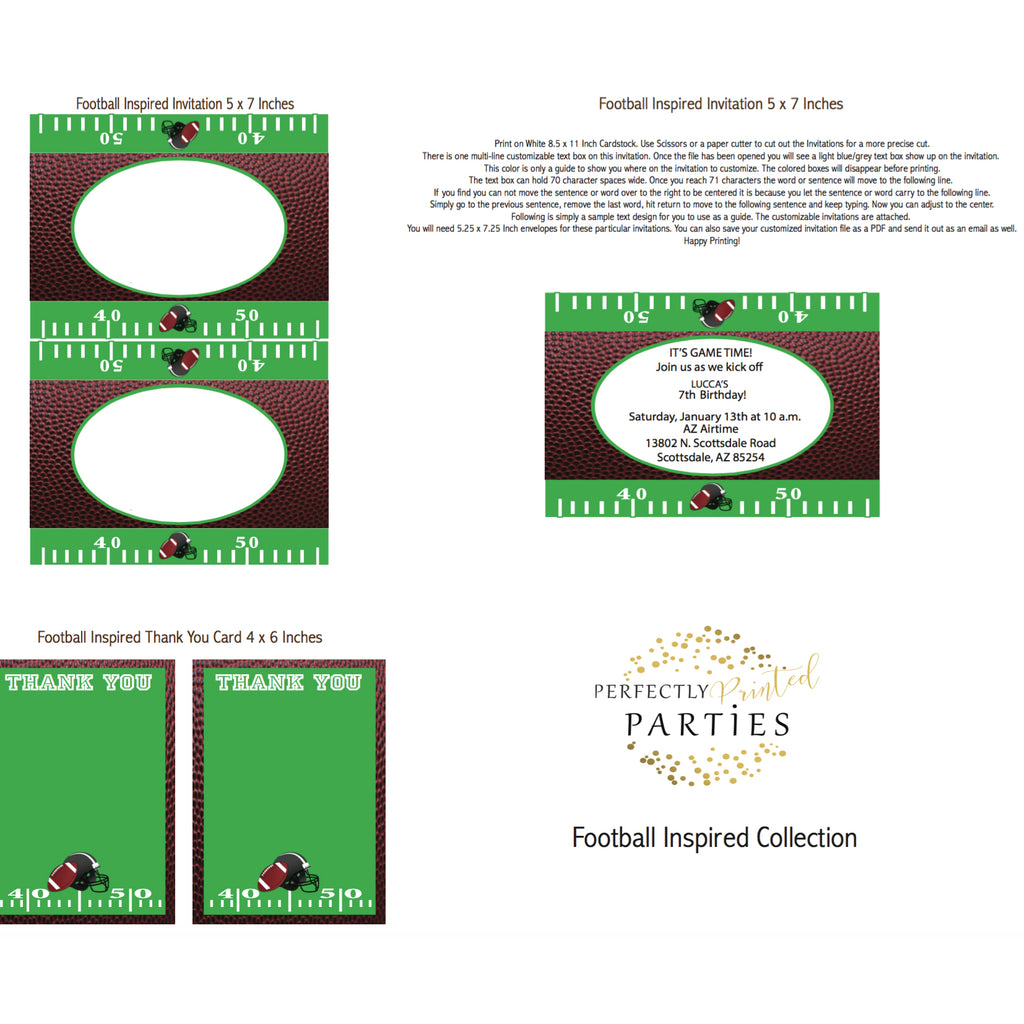 Football Printable Invitation (Digital Download)