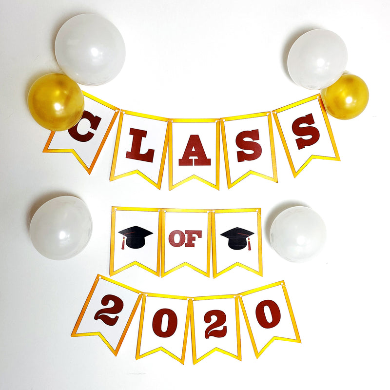 Maroon & Gold Graduation Printable Banner (Digital Download)