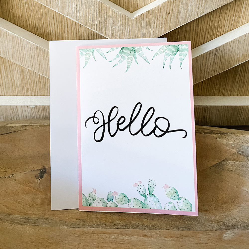 Hello Cactus Greeting Cards & Envelopes (2 included)