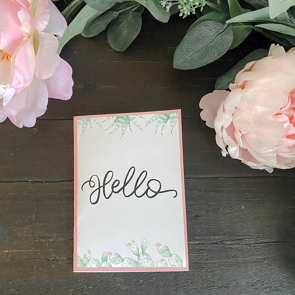 Hello Cactus Printable Greeting Card (Digital Download)