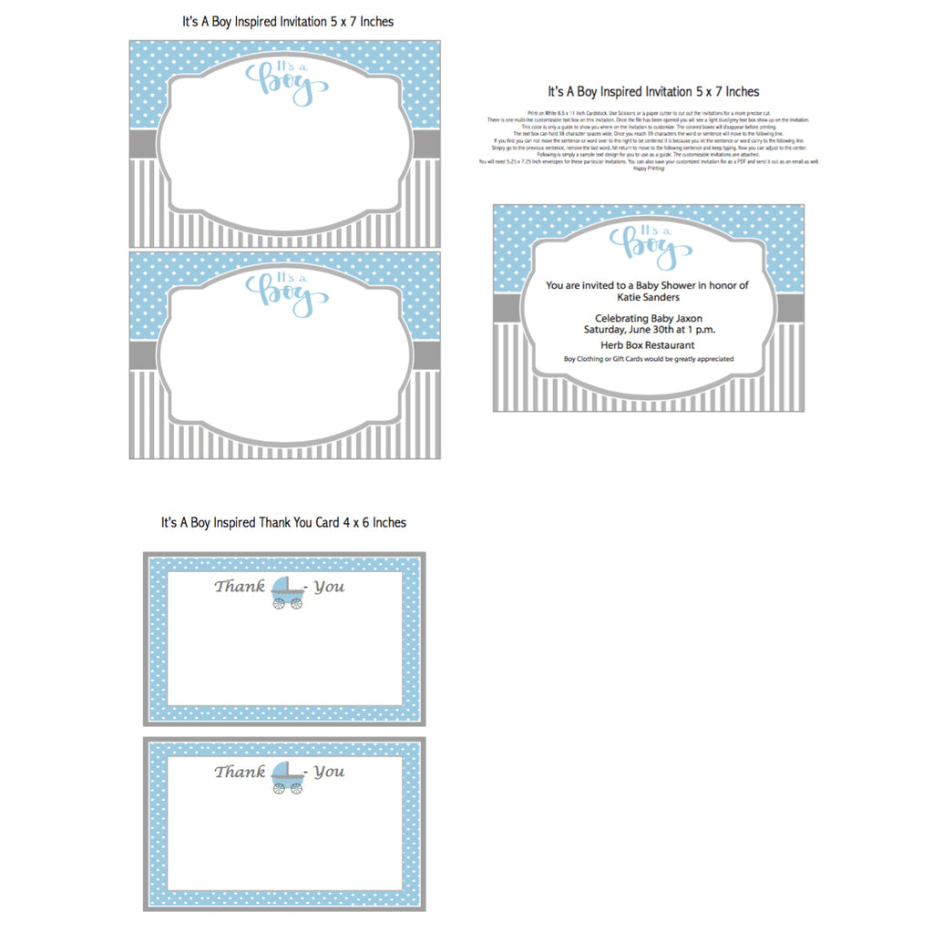 It's a Boy Printable Invitation (Digital Download)