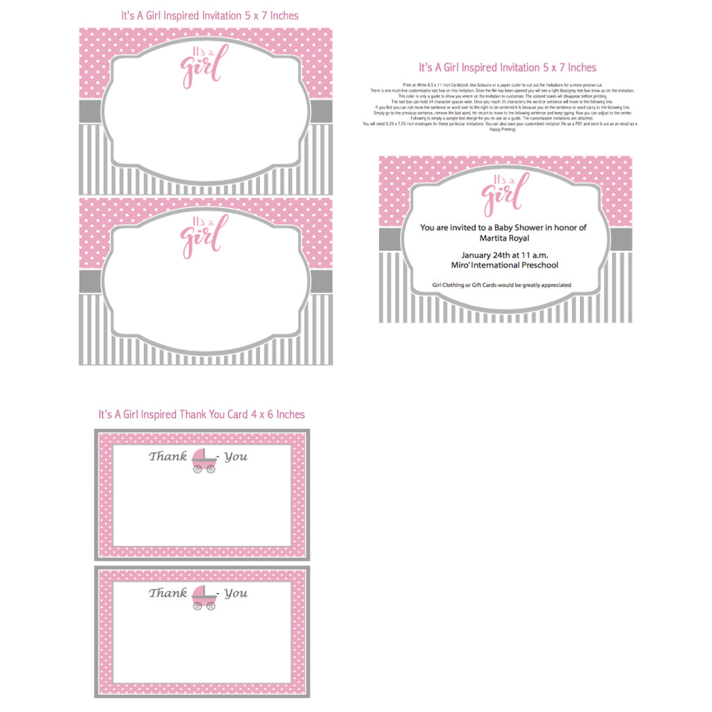 It's A Girl Printable Invitation (Digital Download)