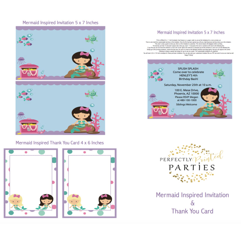 Mermaid Printable Invitation (Digital Download)