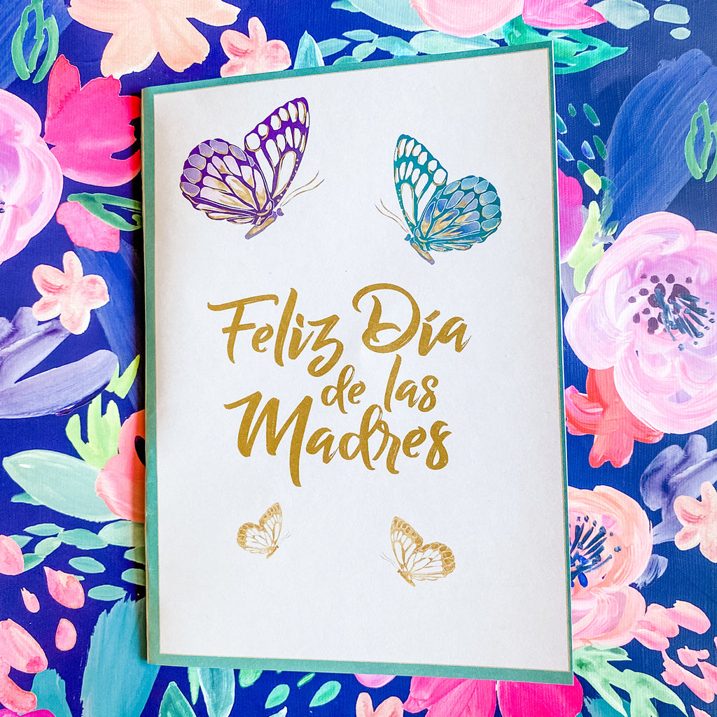 Mother's Day Butterfly Greeting Cards & Envelopes in Spanish (2 included)