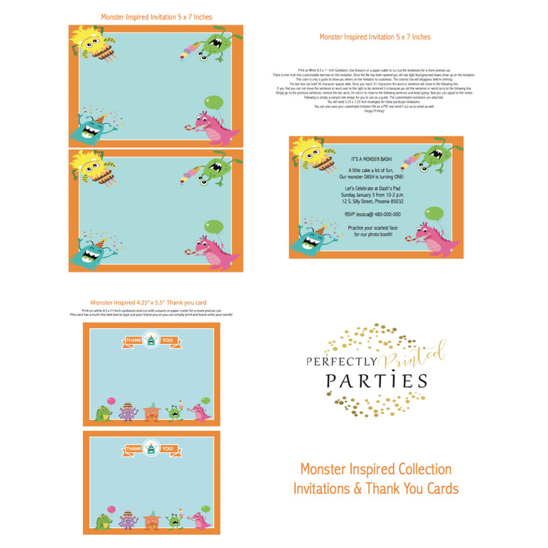Monster Printable Invitation (Digital Download)