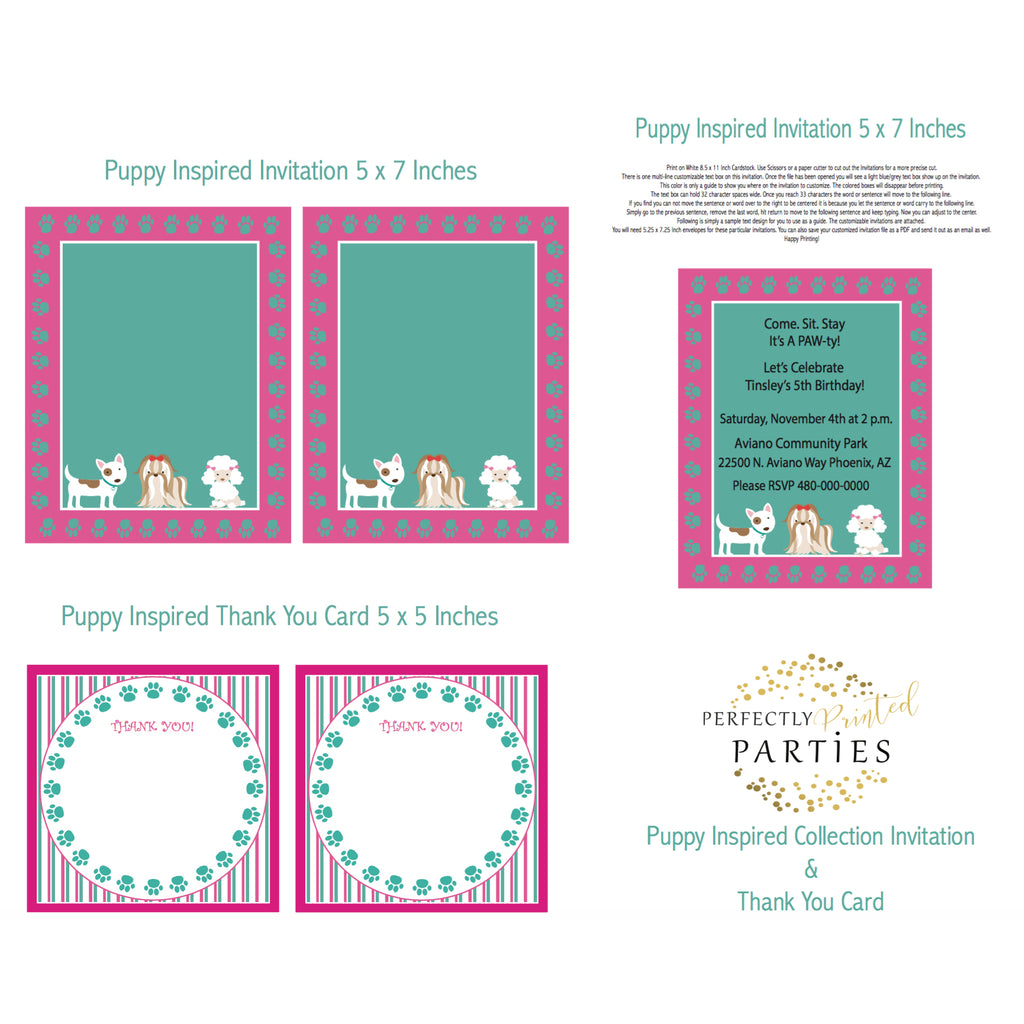 Puppy Printable Invitation (Digital Download)