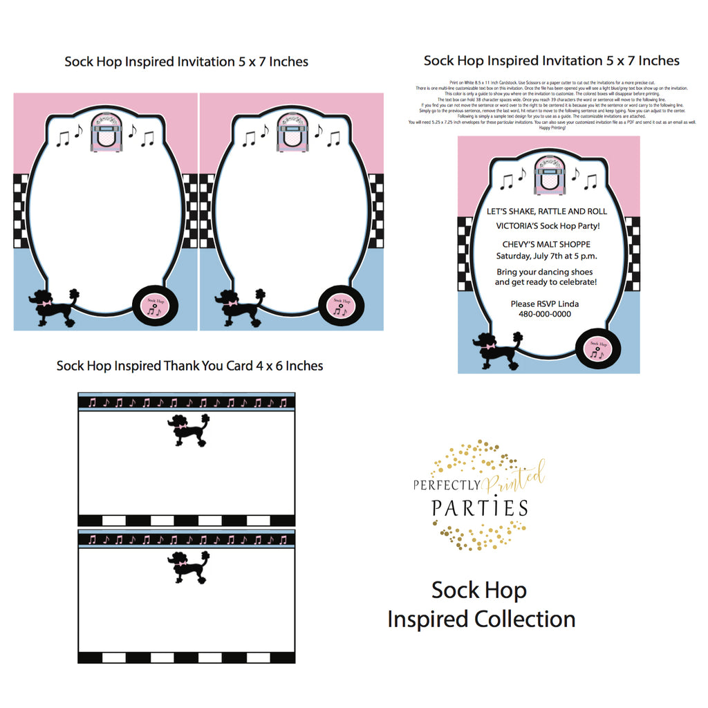 Sock Hop Printable Invitation (Digital Download)