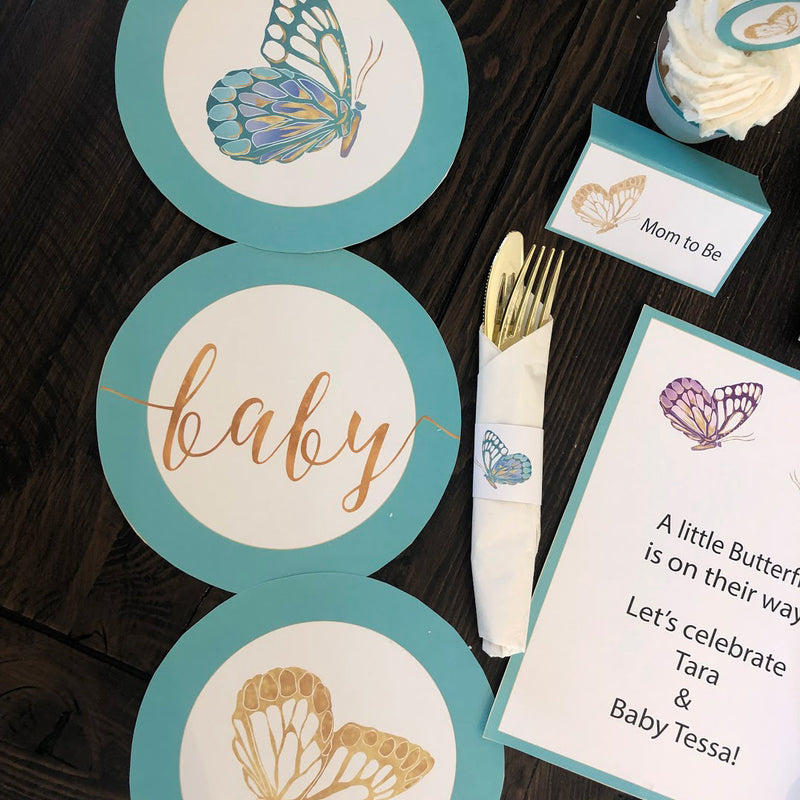 Teal Butterfly Baby Shower Party in a Box