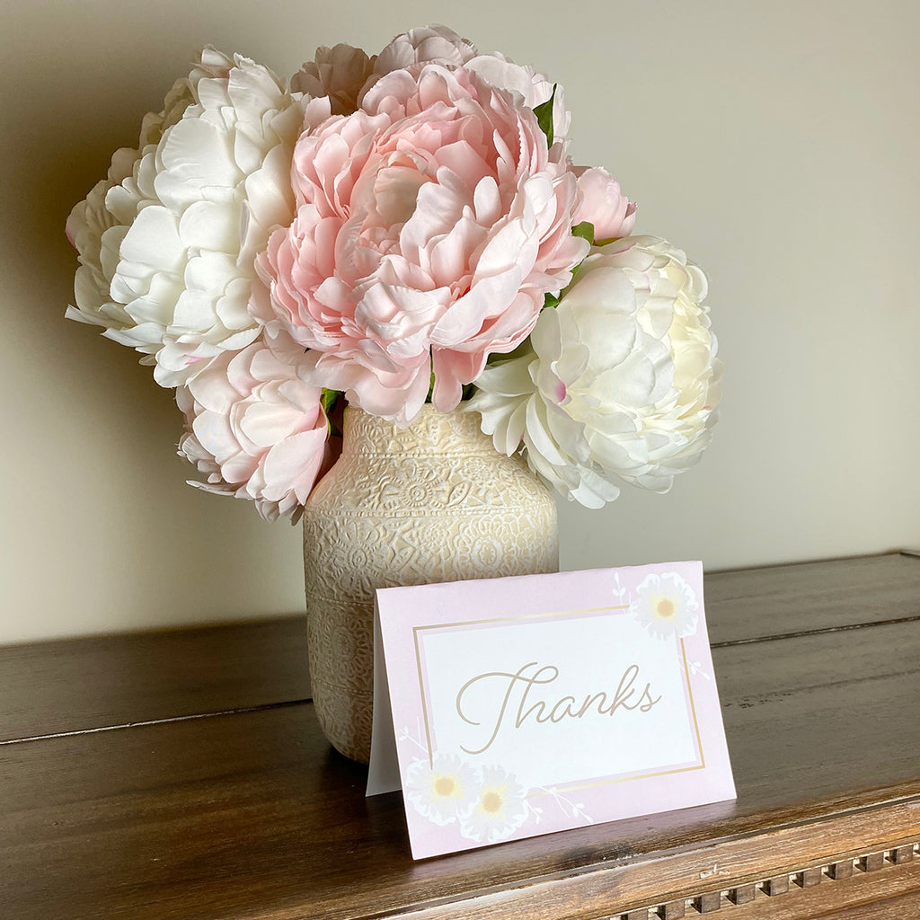 Pink Floral Printable Thank You Card (Digital Download)
