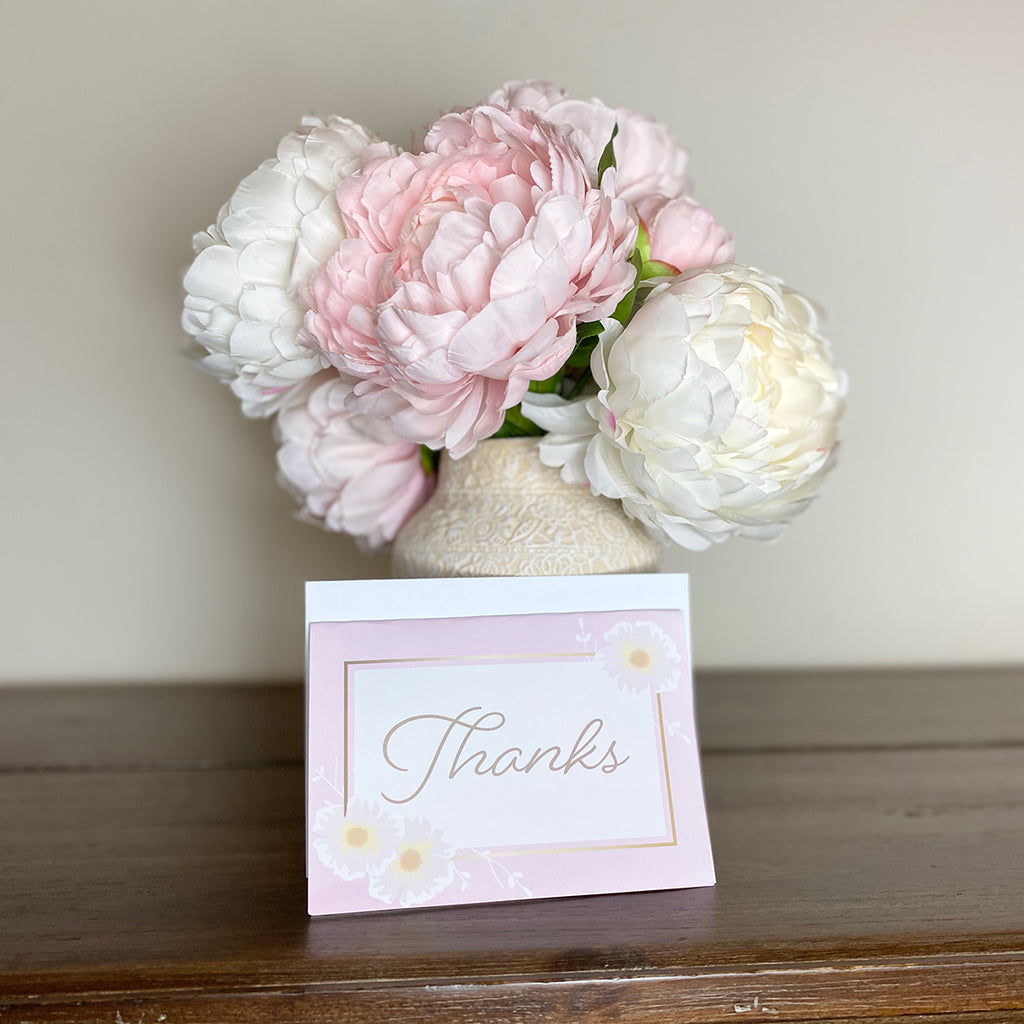 Pink Floral Thank You Cards & Envelopes (2 included)