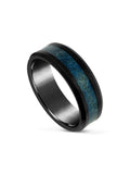 Limitless Mens Black And Blue Tungsten Band LR48