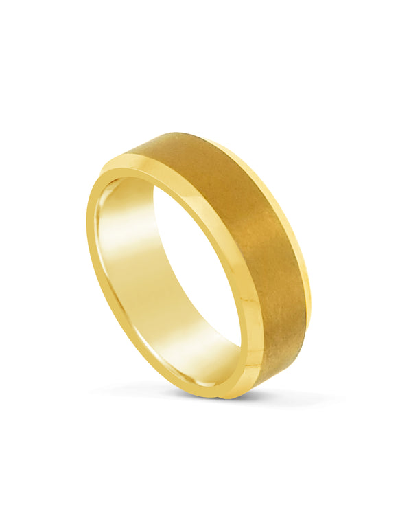 Limitless Mens Gold Tone Beveled Tungsten Band LR23