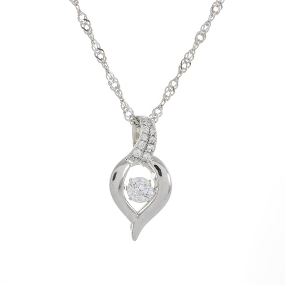Thick Heart Swarvoski CZ Sterling Silver Dancing Stone Pendant