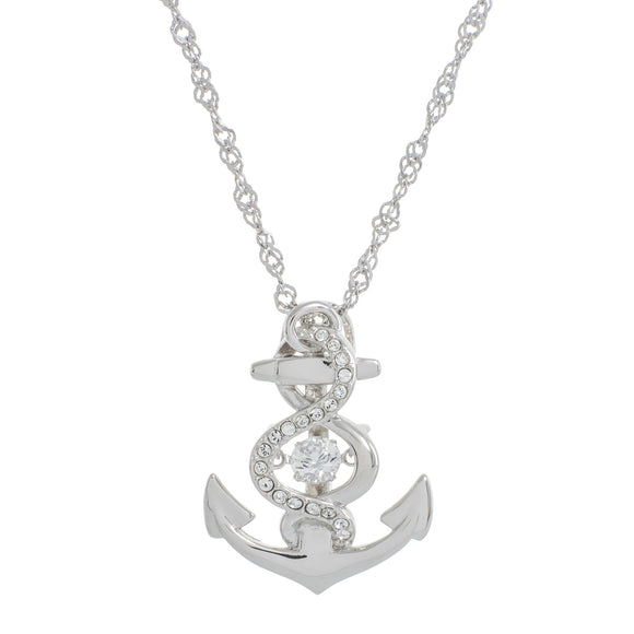 Enchanted 'Anchor' Sterling Silver Swarovski Dancing Necklace