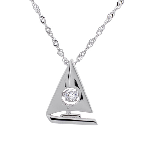 Sailboat Clear Swarovski CZ Sterling Silver Platinum Plating Dancing Stone Pendant