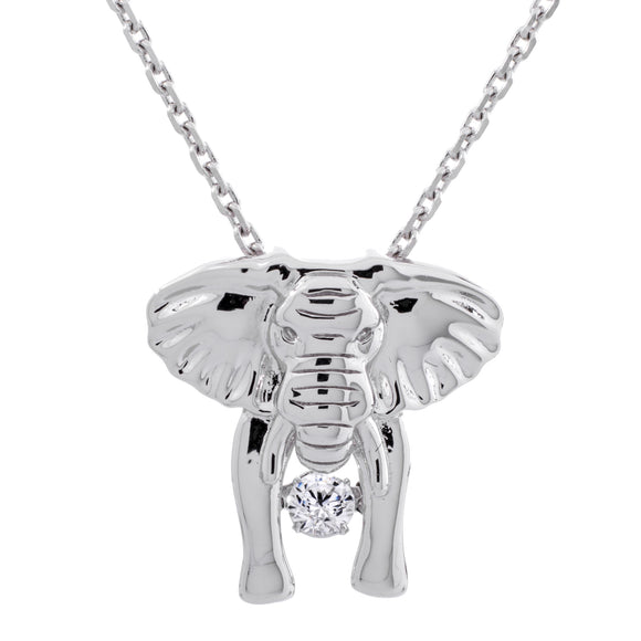Enchanted 'Elephant'Sterling Silver Swarovski Zirconia Dancing Stone Necklace