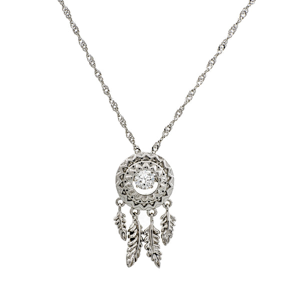 Dream Catcher Swarovski CZ Sterling Silver Dancing Stone Pendant