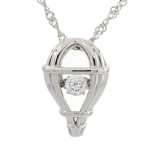 Hot Air Balloon Swarovski CZ Sterling Silver Dancing Stone Pendant