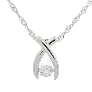 Enchanted 'Make a Wish' Sterling Silver Swarvoski Zirconia Dancing Stone Necklace