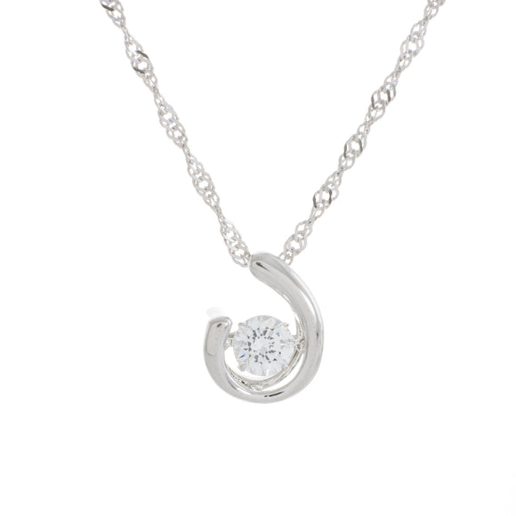 Enchanted 'Open Concept' Sterling Silver Swarovski Zirconia Dancing Stone Necklace
