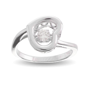 Glimmer In My Heart Clear Swarovski Crystal Sterling Silver Platinum Plating Dancing Stone Ring