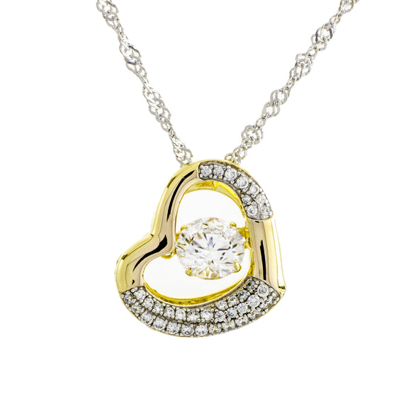 Glimmer In My Heart Clear Swarovski CZ Sterling Silver 18k Yellow Gold Plating Dancing Stone With Side Stones Pendant