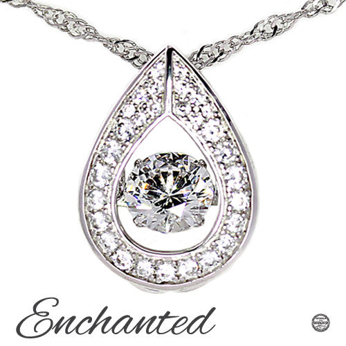 Enchanted 'Raindrop' Sterling Silver Swarovski Zirconia Dancing Necklace