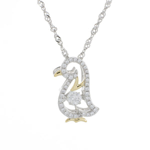 Enchanted 'Pretty Penguin' Sterling Silver Swarvoski Zirconia Dancing Stone Necklace