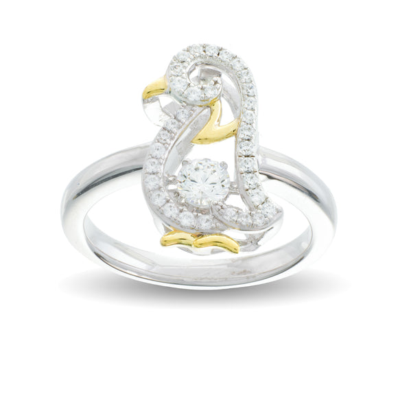 Enchanted 'Pretty Penguin' Sterling Silver Swarvoski Zirconia Dancing Stone Ring