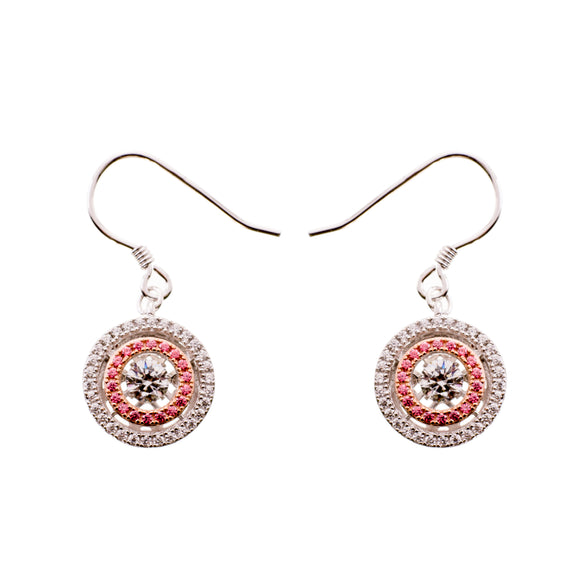 Enchanted 'Pink Star Galaxy' Clear and Pink Swarvoski Zirconia Sterling Silver Dancing Stone Earrings