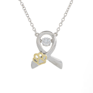 Animal Abuse Ribbon Dancing Swarovski CZ  Pendant