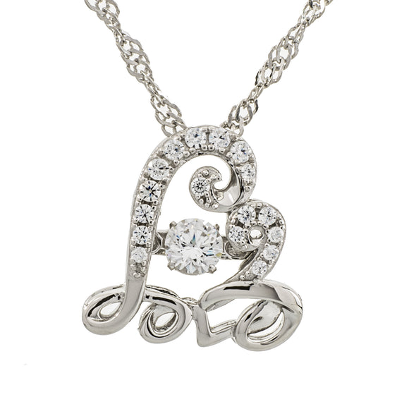 Enchanted 'Eternal Love' Sterling Silver Swarovski Zirconia Dancing Necklace
