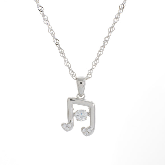 Music Note Clear Swarovski CZ Sterling Silver Platinum Plating Dancing Stone Pendant
