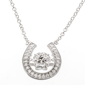 Enchanted 'Lucky Horse Shoe' Sterling Silver Swarovski Zirconia Platinum Plating Dancing Stone Necklace