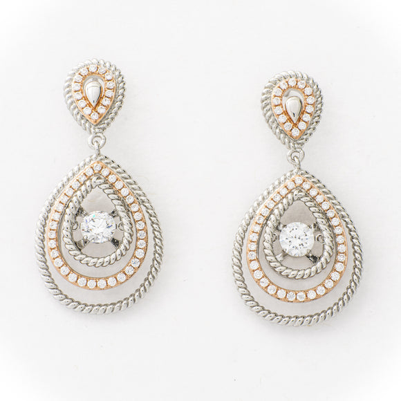 Classic Drop Clear Swarovski CZ Sterling Silver Platinum And Rose Gold Plating Dancing Stone Earring