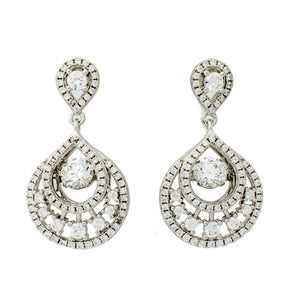 Elegant Drop Clear Swarovski CZ Sterling Silver Platinum Plating Dancing Stone Earring