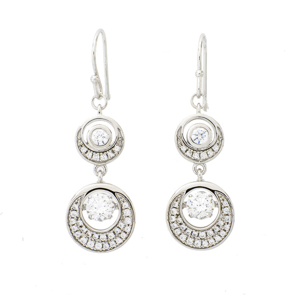 Crescent Moon Clear Swarovski Crystal Sterling Silver Platinum Plating Dancing Stone Earring