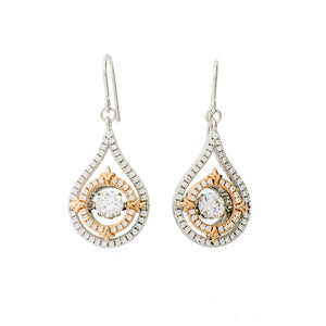 Modern Drop Clear Swarovski CZ Sterling Silver Platinum And 14K Rose Gold Plating Dancing Stone Earring