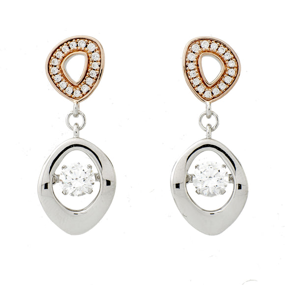 Abstract Clear Swarovski CZ Sterling Silver Platinum And 14K Rose Gold Plating Dancing Stone Earring