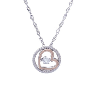 Eternal Love Clear Swarovski CZ Sterling Silver Platinum And Rose Gold Plating Dancing Stone Pendant