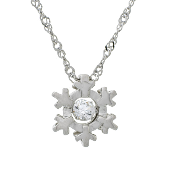 Modern Snowflake Clear Swarovski CZ Sterling Silver Platinum And Rose Gold Plating Dancing Stone Pendant