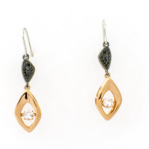Classic Abstract Drop Clear Swarovski CZ Sterling Silver Platinum, Black Rhodium And 14K Rose Gold Plating Dancing Stone Earring
