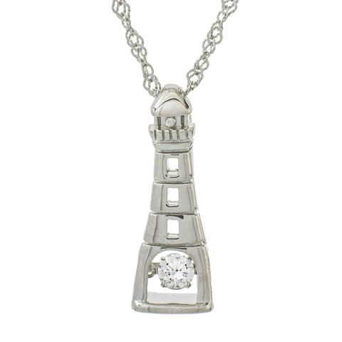 East Coast Lighthouse Clear Swarovski CZ Sterling Silver Platinum Plating Dancing Stone Pendant