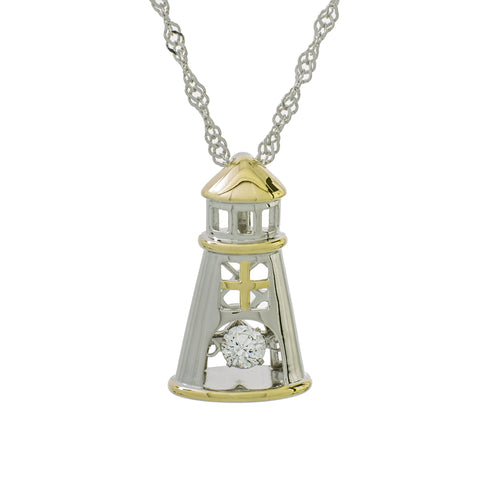 Classic Lighthouse Clear Swarovski CZ Sterling Silver Platinum And Yellow Gold Plating Dancing Stone Pendant