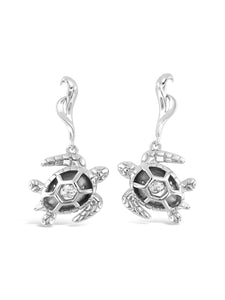 Turtle Swarvoski CZ Sterling Silver Dancing Stone Earrings