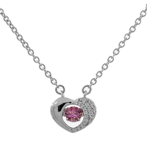 Enchanted 'Cupids Promise' Clear Swarovski Zirconia Sterling Silver Platinum Plating Dancing Stone Necklace