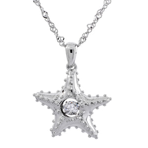 Enchanted 'Starfish' Sterling Silver Swarvoski Zirconia Dancing Stone Necklace