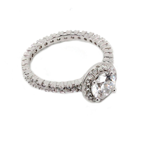 Round Halo Eternity Engagement Ring Mounting (0.82 ct. tw.)